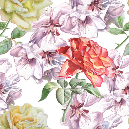 foliage: Seamless pattern with watercolor flowers. Vector. Hand drawn.