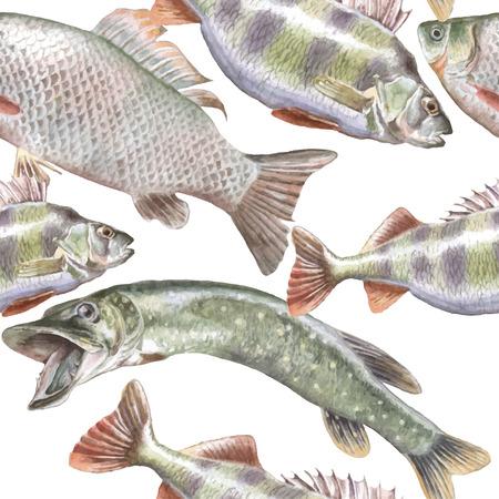 Naadloze patroon met vis. Vector. Hand getrokken. Stock Illustratie