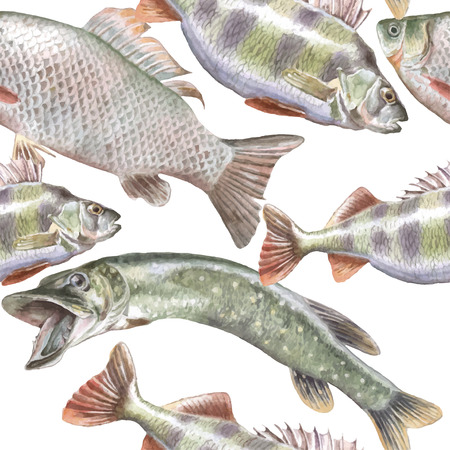 raptorial: Seamless pattern with fish. Vector. Hand drawn.
