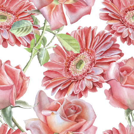 gerbera: Gerbera and rose. Seamless pattern. Watercolor. Vector. Hand drawn.