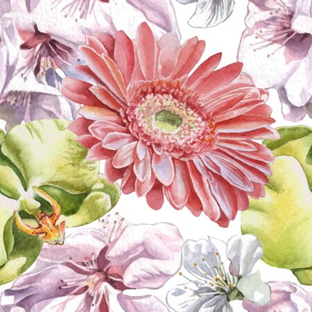 gerbera daisy: Seamless pattern with watercolor flowers. Vector. Hand drawn.