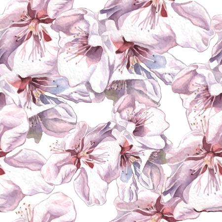 수채화 꽃 원활한 패턴입니다. 벡터. 손으로 그린.