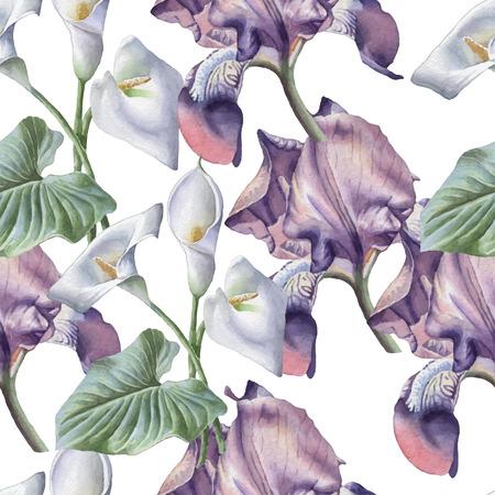 flor violeta: Patr�n sin fisuras con flores de la acuarela. Iris. Cala. Vector. Dibujado a mano.