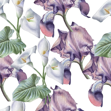 purple iris: Seamless pattern with watercolor flowers. Iris. Calla. Vector. Hand drawn.