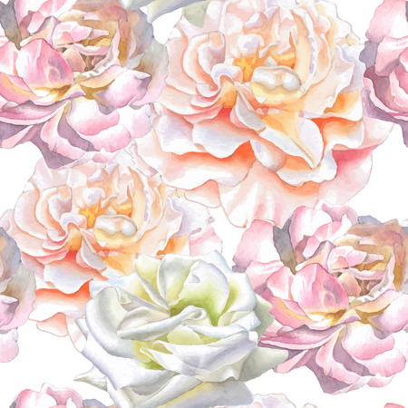 Seamless pattern with watercolor roses.  Vector. Watercolor. Hand drawn.