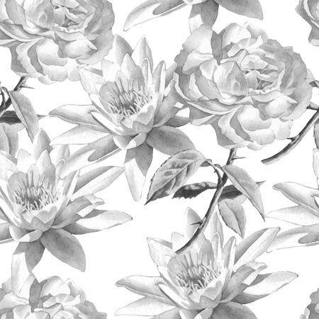 Monochrome seamless pattern with watercolor flowers. Rose and lily.  Vector. Hand drawn.  イラスト・ベクター素材