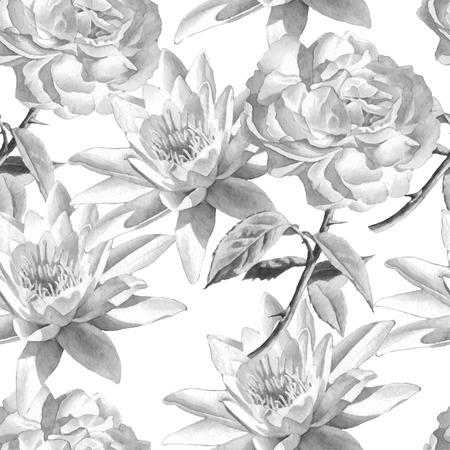 수채화 꽃과 흑백 원활한 패턴입니다. 장미와 백합. 벡터. 손으로 그린.