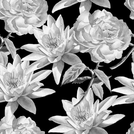 Monochrome seamless pattern with watercolor flowers. Rose and lily.  Vector. Hand drawn. 일러스트