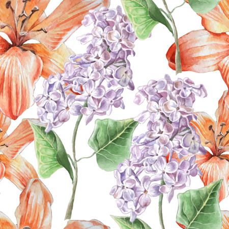 garden flower: Seamless pattern with lilies and lilac. Watercolor Hand drawn.