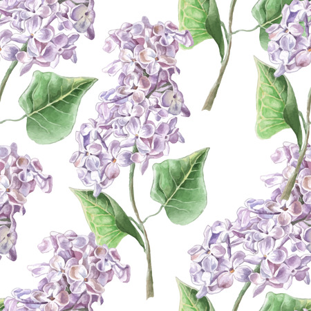 Seamless pattern with lilac flower. Watercolor Hand drawn.