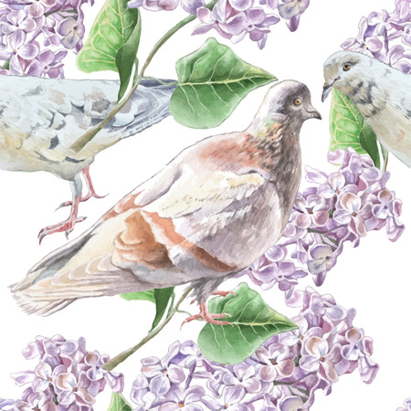 free illustration: Seamless pattern with flowers and doves. Watercolor Hand drawn.