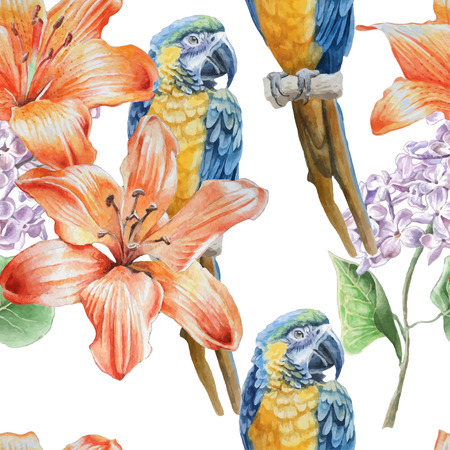 parakeet: Seamless pattern with flowers and birds. Watercolor Hand drawn.