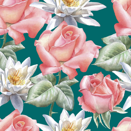 Seamless pattern with watercolor flowers. Rose and lily Hand drawn.