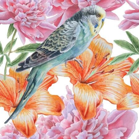 꽃과 앵무새와 원활한 패턴입니다. 수채화. 벡터. 손으로 그린. 일러스트