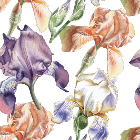 fragrant bouquet: Seamless pattern with different irises. Watercolor Hand drawn.
