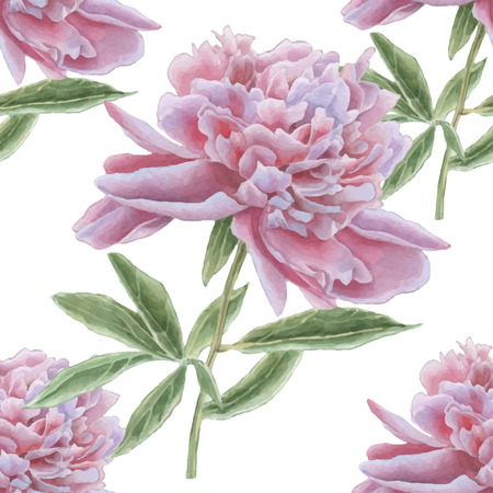Seamless pattern with gorgeous pink peony. Watercolor Hand drawn.