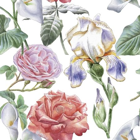 Seamless pattern with flowers. Watercolor Hand drawn.