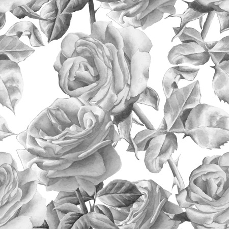 stems: Monochrome seamless pattern with realistic watercolor roses. Hand drawn.