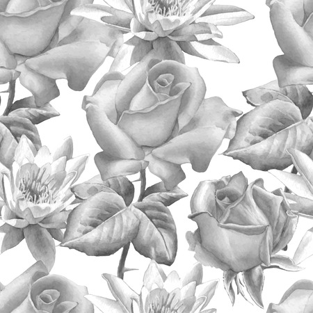 buds: Monochrome seamless pattern with realistic watercolor roses. Hand drawn.