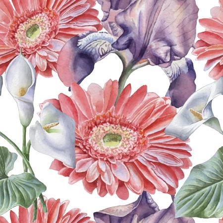 Seamless pattern with watercolor flowers. Iris. Gerbera. Calla. Vector. Hand drawn.