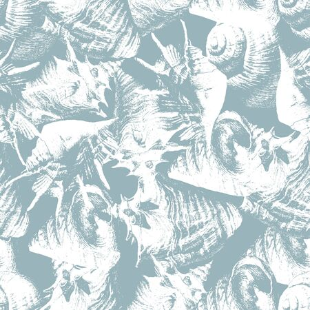Seamless pattern with different shells. Vector. Hand drawn. Ilustração