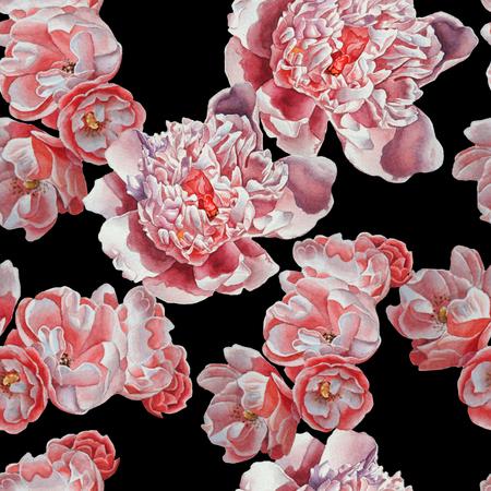 Nahtlose Muster mit roten Blumen. Dog-rose. Pfingstrose. Aquarell. Handgemalt.
