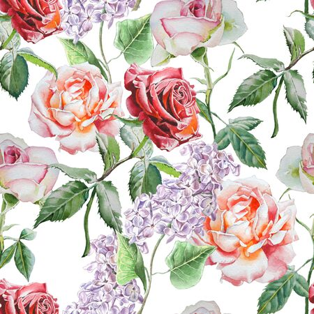 vintage rose: Seamless pattern with watercolor flowers. Watercolor. Hand drawn.