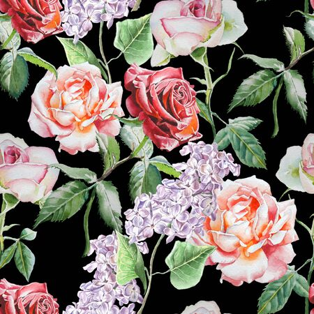 Seamless avec des fleurs à l'aquarelle. Aquarelle. Dessiné à la main.