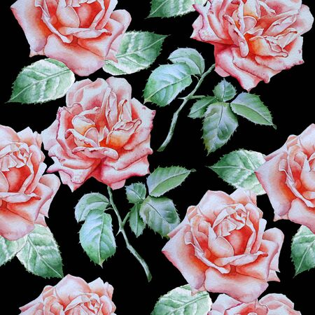 red rose: Seamless pattern with watercolor roses.  Watercolor. Hand drawn.