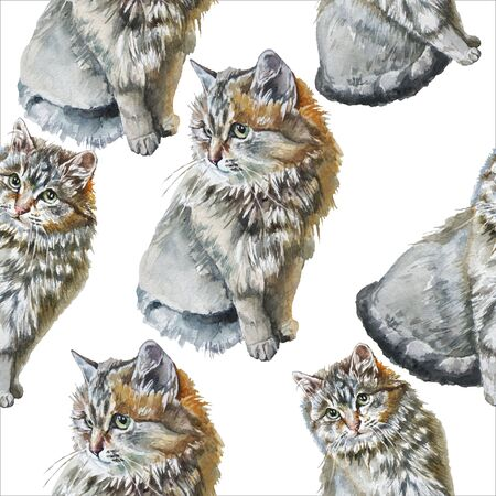 Seamless pattern with cute cats. Watercolor. Hand drawn.