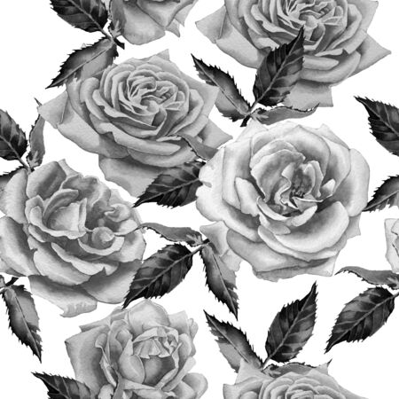 black and white leaf: Monochrome seamless pattern with flowers. Watercolor. Hand drawn. Stock Photo