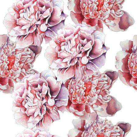 花のシームレスなパターン。水彩画。手描き。 写真素材