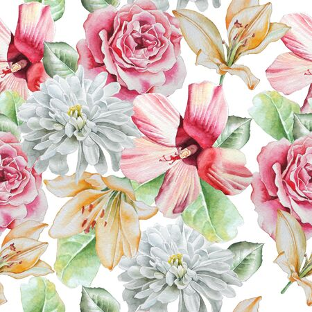 Seamless pattern with flowers. Rose. lily. Chrysanthemum. Watercolor. Hand drawn.