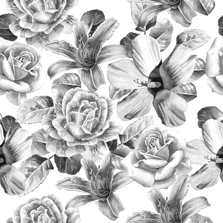 lily flower: Monochrome seamless pattern with flowers. Rose. lily. Watercolor. Hand drawn. Stock Photo