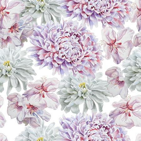 macro: Seamless pattern with flowers. Chrysanthemum. Blossom. Watercolor.  Hand drawn.