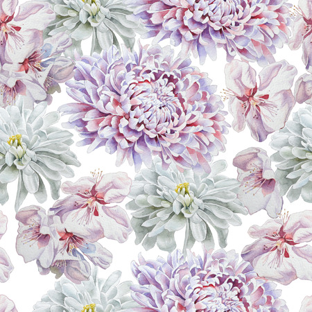 Seamless pattern with flowers. Chrysanthemum. Blossom. Watercolor.  Hand drawn.