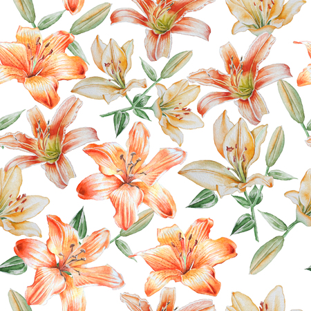 lilia: Seamless pattern with lilies. Watercolor. Hand drawn. Stock Photo