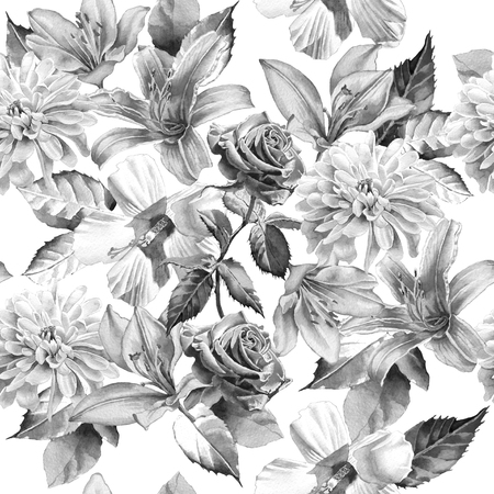 vintage rose: Monochrome seamless pattern with flowers. Rose. lily. Chrysanthemum. Watercolor. Hand drawn.