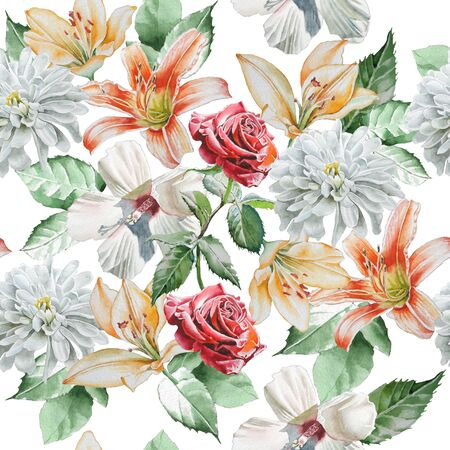 orange lily: Seamless pattern with flowers. Rose. lily. Chrysanthemum. Watercolor.  Hand drawn.