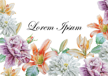lily: Invitation card with watercolor flowers. Peony. Lily. Chrysanthemum,  Watercolor. Hand drawn. Stock Photo