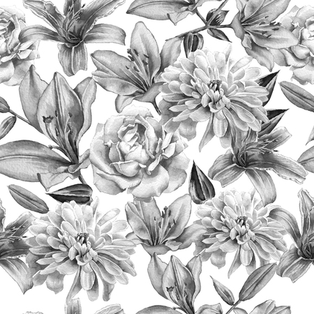 hand drawn rose: Monochrome seamless pattern with flowers. Rose. lily. Chrysanthemum. Watercolor. Hand drawn.
