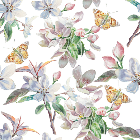tropical flowers: Seamless pattern with flowers and butterflies. Watercolor. Hand drawn. Stock Photo