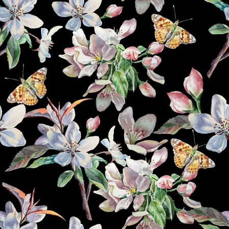 butterfly tree: Seamless pattern with flowers and butterflies on a black background. Watercolor.  Hand drawn. Stock Photo