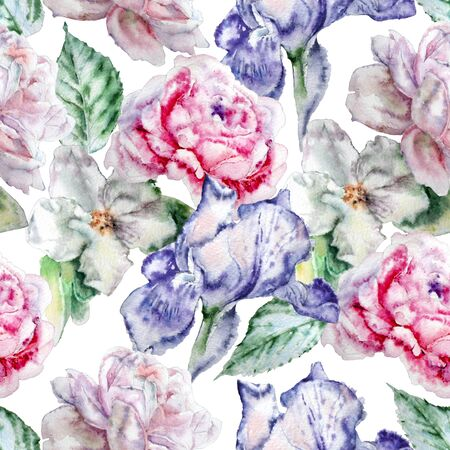 buds: Seamless pattern with flowers. Rose.  Blossom. Iris. Watercolor. Hand drawn.