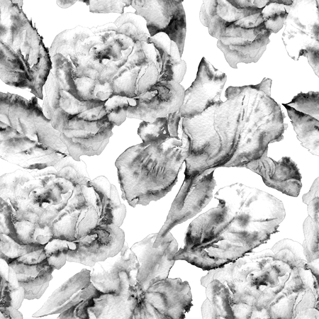 iris blossom: Monochrome seamless  pattern with flowers. Rose. Iris. Blossom. Watercolor.   Hand drawn.?