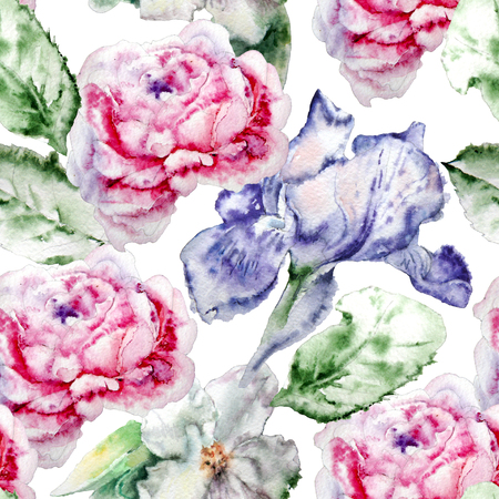 iris blossom: Seamless pattern with flowers. Rose. Iris. Blossom. Watercolor.  Hand drawn.?