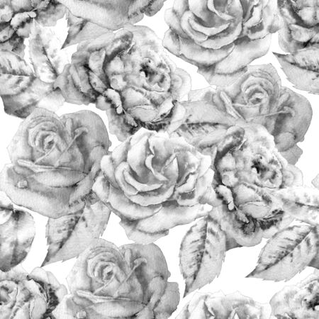 vintage patterns: Monochrome seamless pattern  with roses.  Watercolor. Hand drawn.