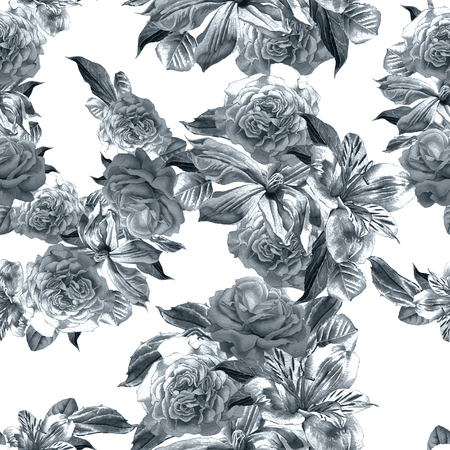 alstroemeria: Seamless pattern with flowers. Alstroemeria. Rose. Watercolor. Stock Photo