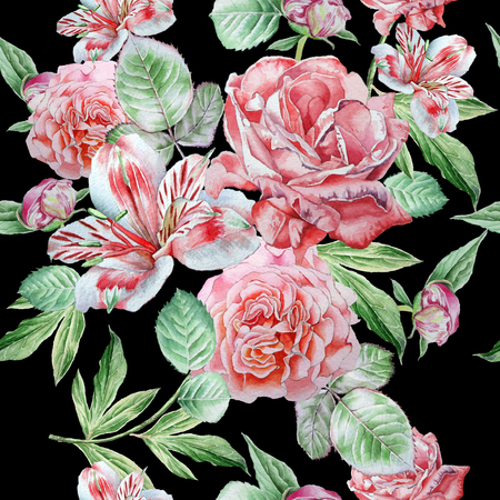 famous paintings: Seamless pattern with flowers. Alstroemeria. Rose. Watercolor. Hand drawn.