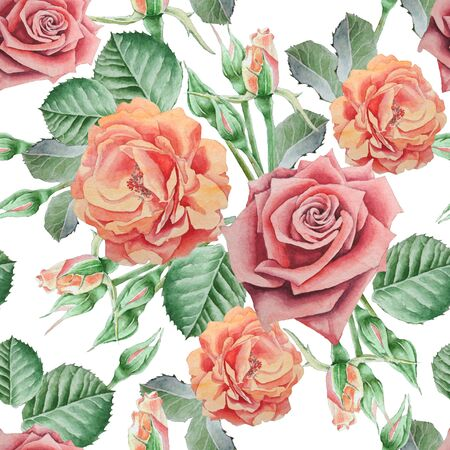 famous paintings: Seamless pattern with roses. Watercolor illustration. Hand drawn. Stock Photo